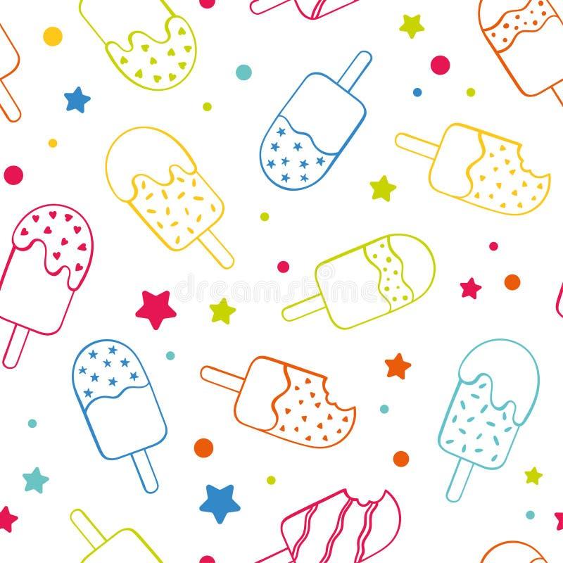 El fondo inconsútil coloreado de neón del modelo del helado del polo de la diversión, feliz y fresco de la repetición con las est libre illustration