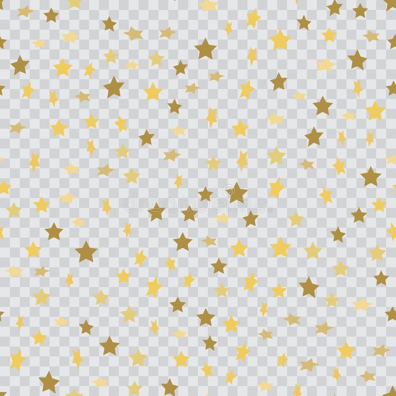 El fondo inconsútil con confeti del oro que cae protagoniza en transparente Vector ilustración del vector