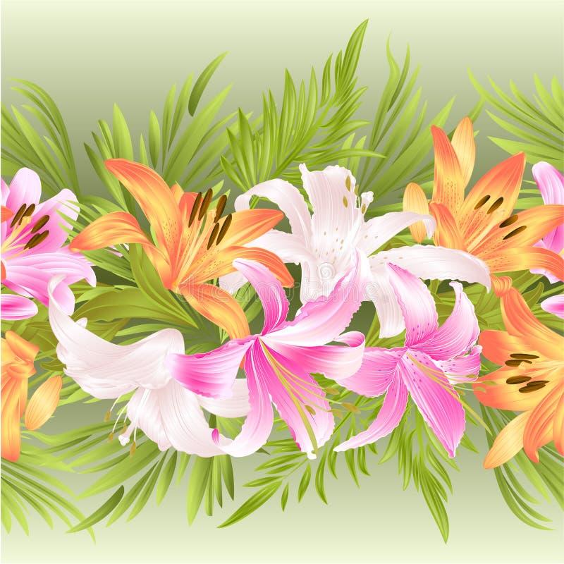 El fondo inconsútil de la frontera floral con el vintage floreciente del lirio y de las hojas vector el ejemplo para el uso en di libre illustration