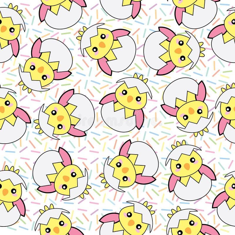 El fondo inconsútil del ejemplo de Pascua con el polluelo rosado lindo del bebé encendido asperja el fondo libre illustration