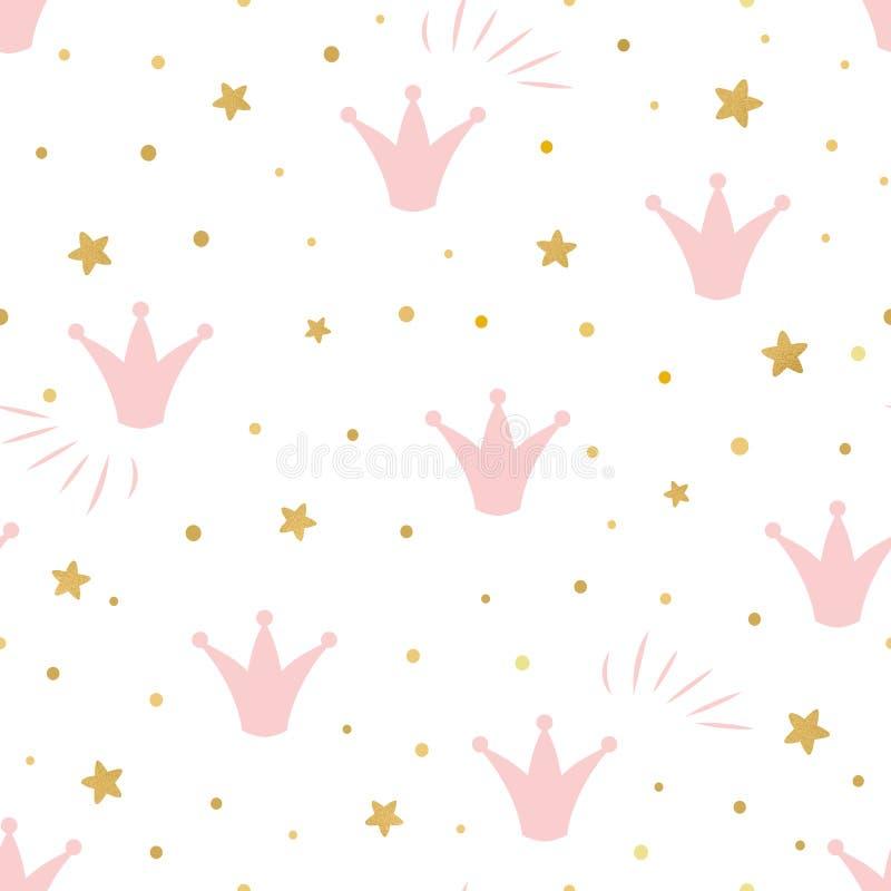 El fondo inconsútil del modelo lindo rosado de la princesa con un oro rosado de la corona protagoniza en un vector blanco del fon stock de ilustración