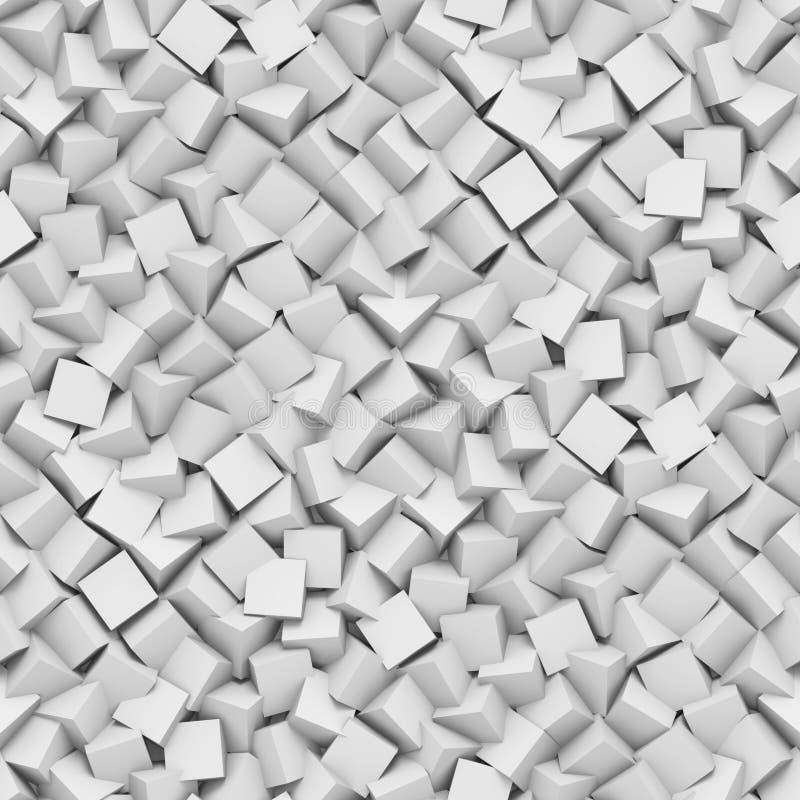 El fondo inconsútil hecho de diagonal arregló los cubos en sombras del blanco ilustración del vector