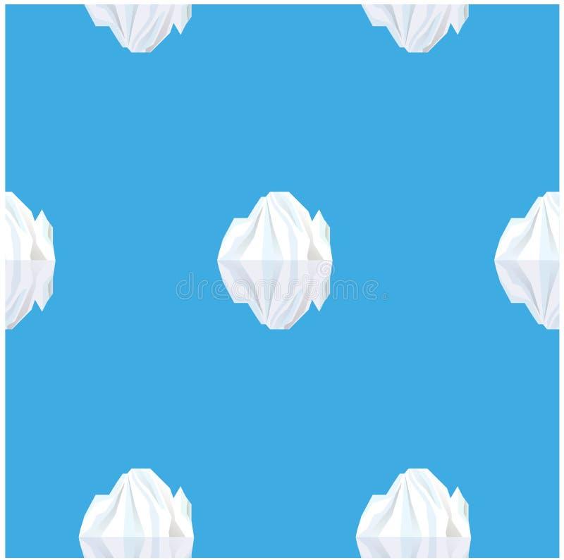 El fondo inconsútil reflejó en los icebergs del blanco del agua azul ilustración del vector