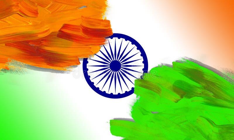 El fondo indio del concepto del Día de la Independencia con Ashoka rueda en estilo del movimiento del cepillo stock de ilustración