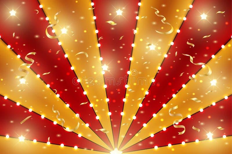 El fondo inferior del circo de las líneas del rojo y del oro raya con constelaciones de la estrella, las bombillas y la malla Ra stock de ilustración