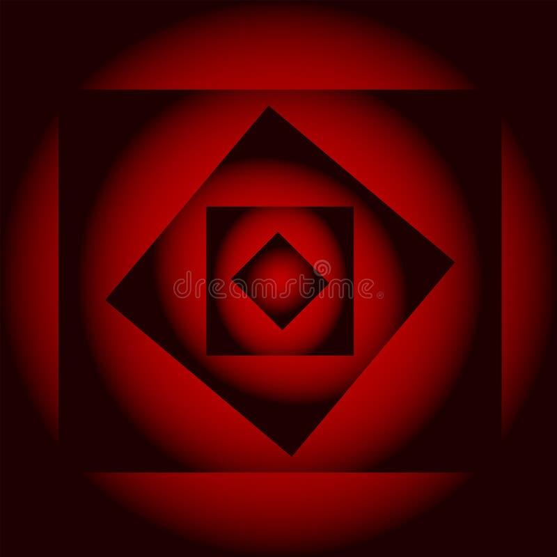 El fondo místico abstracto, la pendiente negra y roja ilusoria ajusta, ejemplo stock de ilustración