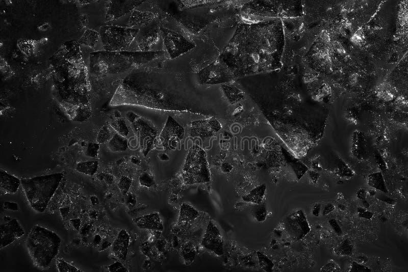 El fondo monocromático del hielo hace fragmentos de flotación en el fango fotos de archivo