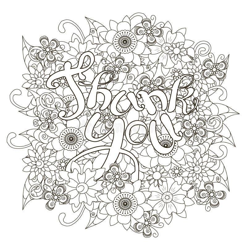 El fondo monocromático floral del estilo del garabato con las letras dibujadas mano le agradece ilustración del vector