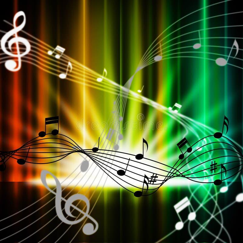 El fondo multicolor de las cortinas significa los instrumentos y al hijo de música libre illustration