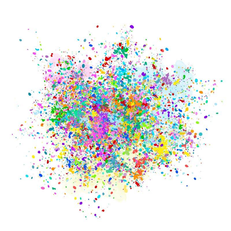El fondo multicolor del vector de colorido cae y salpica de la pintura Festival de Holi del ejemplo del vector de los colores stock de ilustración
