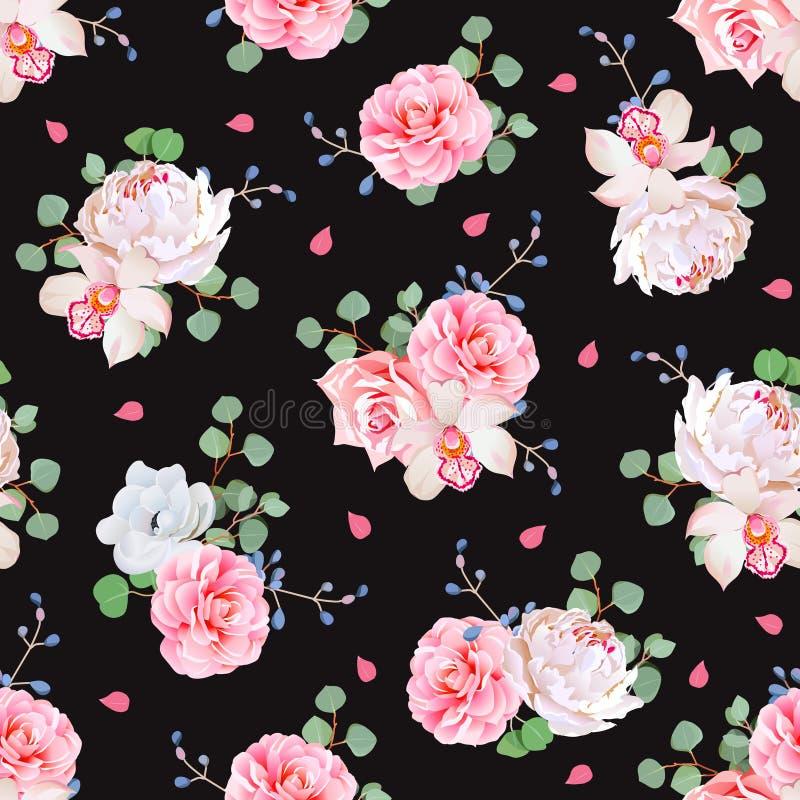 El fondo negro con los ramos de subió, peonía, camelia, orquídea, anémona, las bayas azules y las hojas de los eucaliptis stock de ilustración