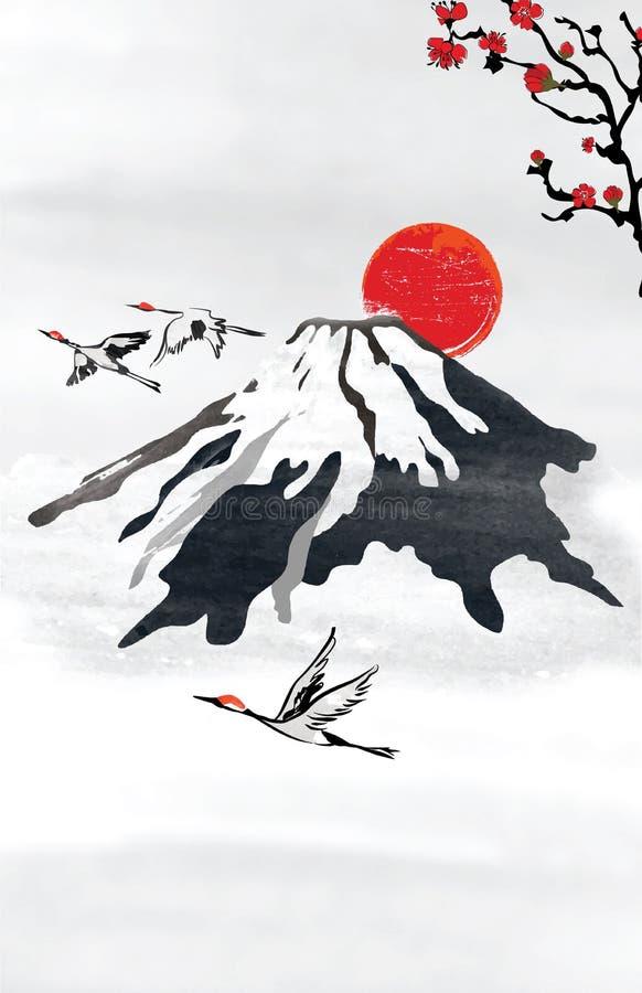 El fondo para las tarjetas de felicitación japonesas/coreanas con las montañas estilizadas y el vuelo crane pájaros stock de ilustración