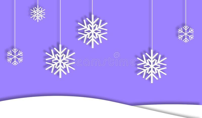 El fondo primero nieva los copos de nieve con la sombra stock de ilustración