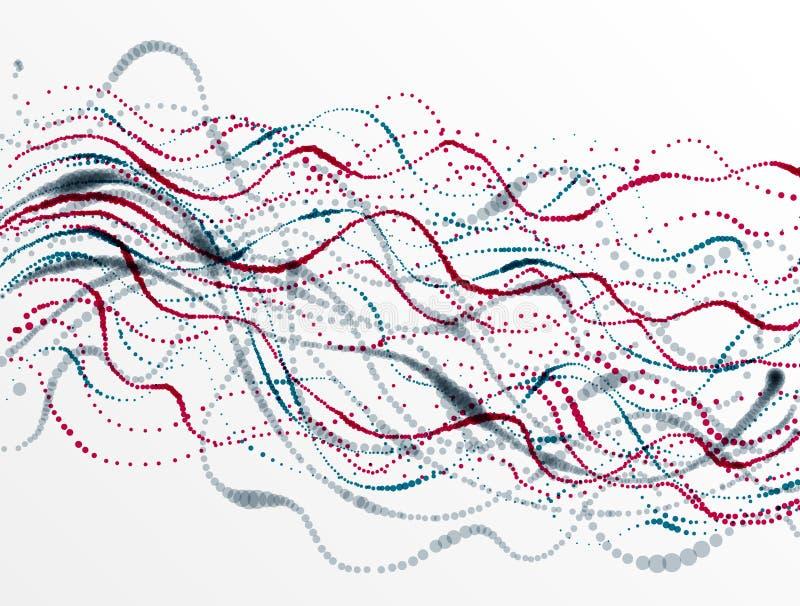 El fondo punteado del extracto del vector del arsenal de la partícula que fluye, vida forma diseño microscópico del bio tema stock de ilustración