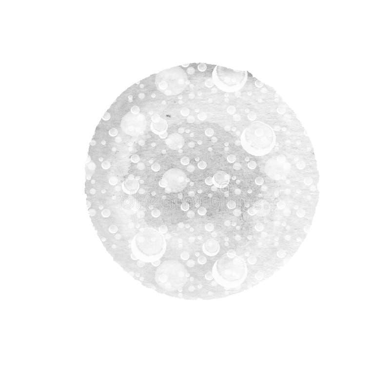 El fondo redondo abstracto en sombras del gris con salpica blanco Círculo de la acuarela del invierno stock de ilustración