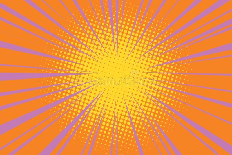 El fondo retro del arte pop del c mic del sol ilustraci n for Fondo del sol