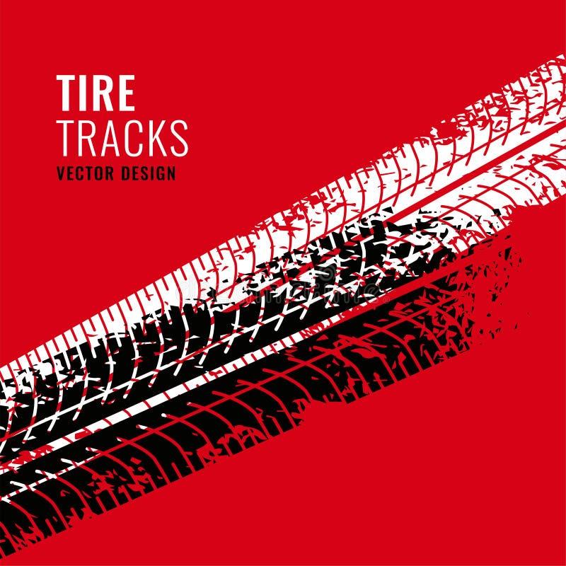 El fondo rojo con el neumático sigue la marca ilustración del vector