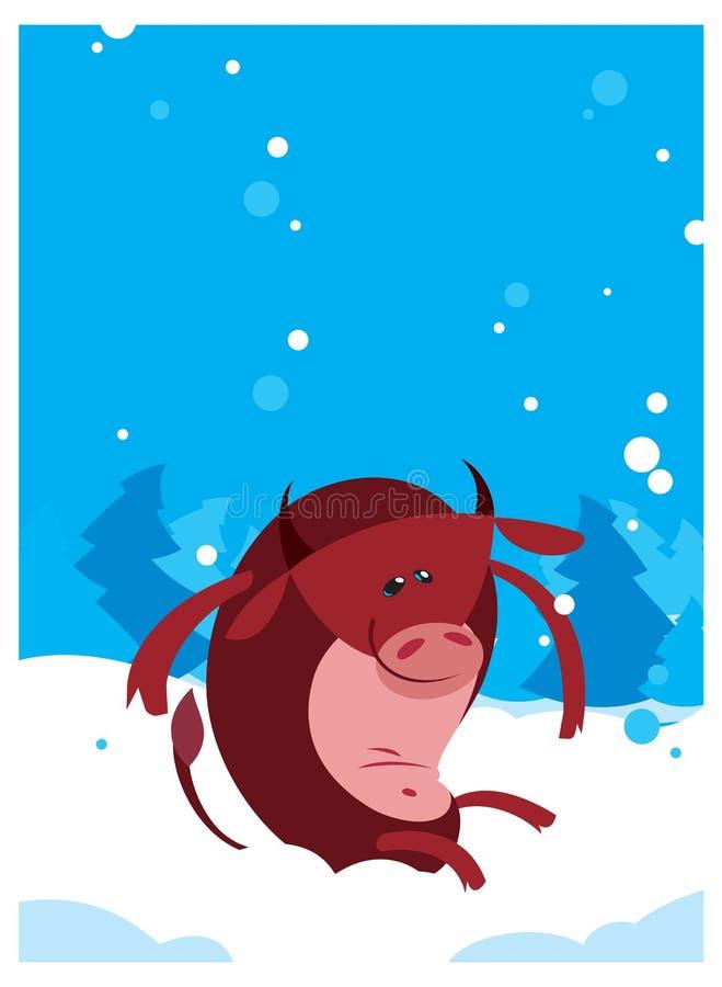 El fondo rojo del invierno del whith de Bull del buey stock de ilustración