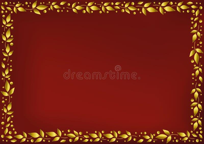 El fondo rojo estilizó como terciopelo rojo con el marco decorativo de hojas y de puntos de oro libre illustration