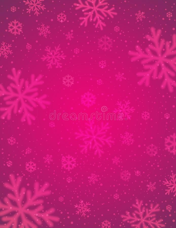 El fondo rosado con blanco empañó los copos de nieve, illustrat del vector libre illustration