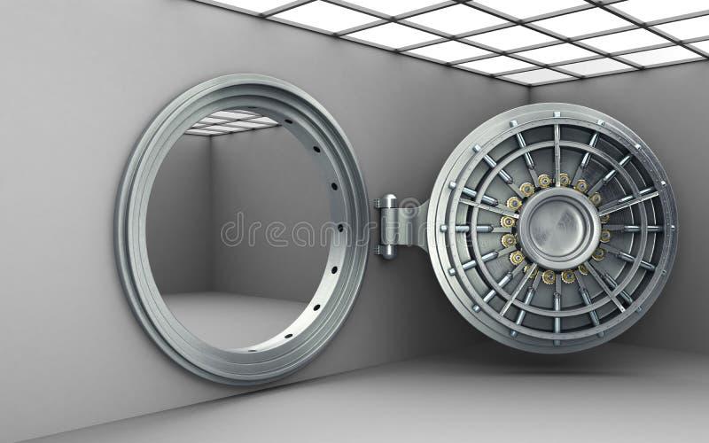 El fondo seguro abierto grande 3d de alta resolución de la puerta rinde ilustración del vector