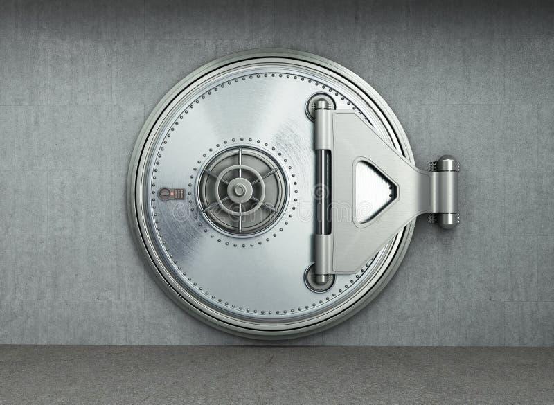 El fondo seguro grande 3d de alta resolución de la puerta rinde ilustración del vector
