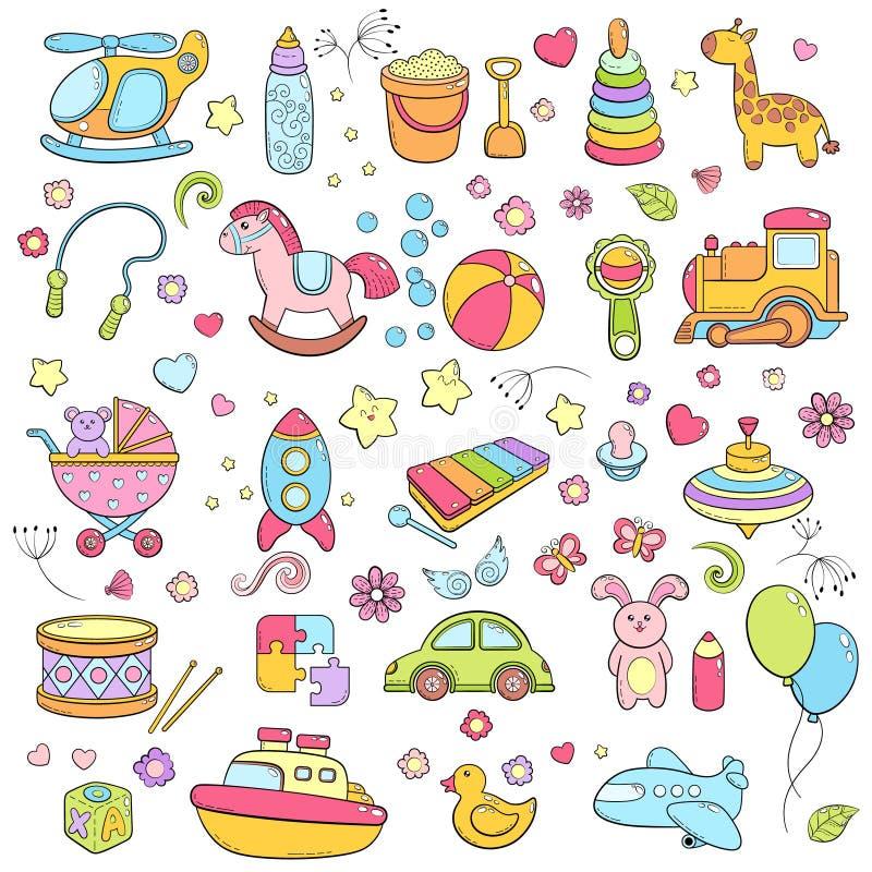 El fondo, textura, contexto, modelo, papel pintado con garabato de la historieta de los niños juega Juegos educativos para los ni ilustración del vector