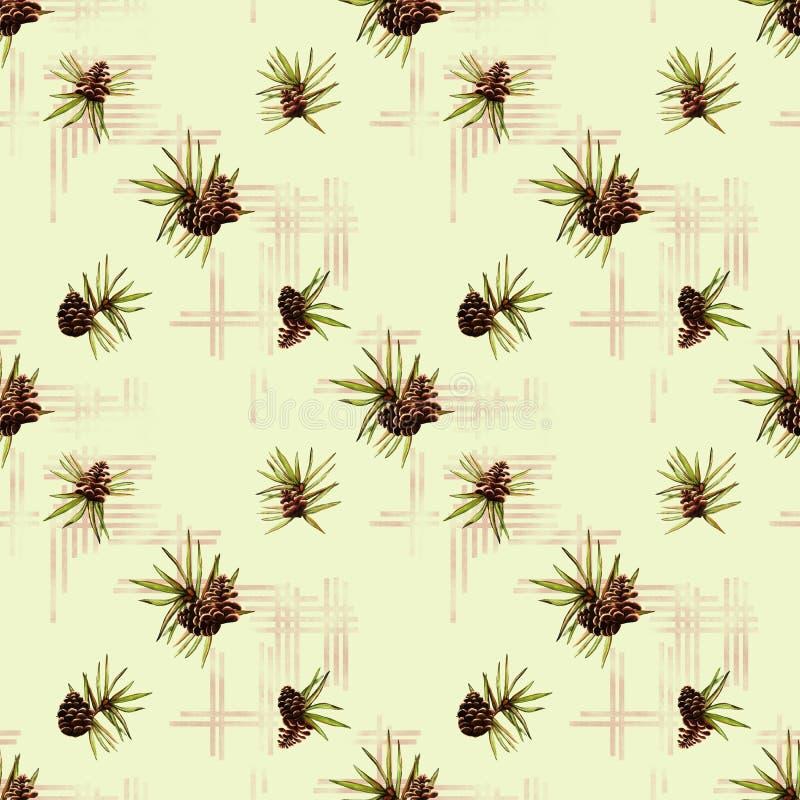 El fondo verde claro de la acuarela con rojo cruzó rayas y conos del pino con el modelo inconsútil de la naturaleza verde spruce  libre illustration