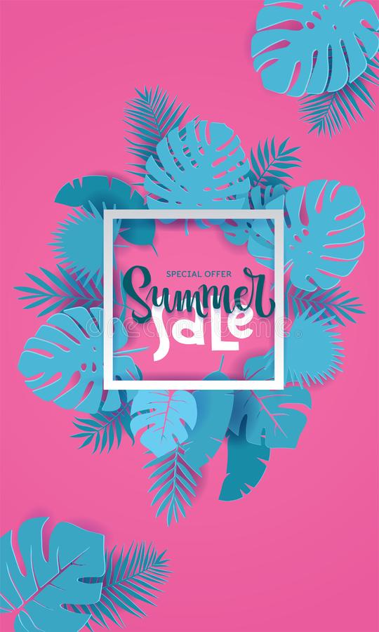 El fondo vertical del corte del papel de la venta del verano con la palma, monstera, pl?tano se va con el lugar para su texto en  libre illustration