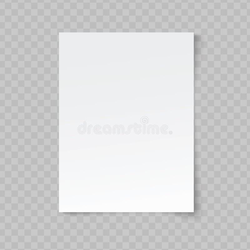El formato del vector A4 arrugó suavemente el papel con la sombra en fondo transparente stock de ilustración