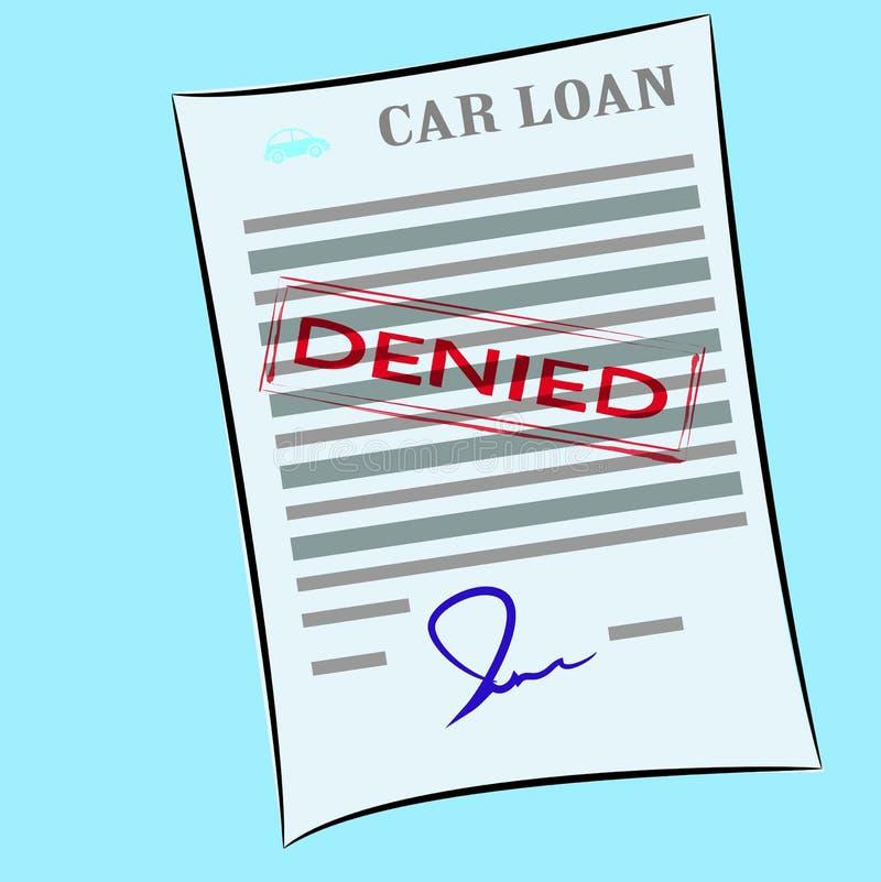 El formulario de inscripción de préstamo de coche con el sello negado libre illustration