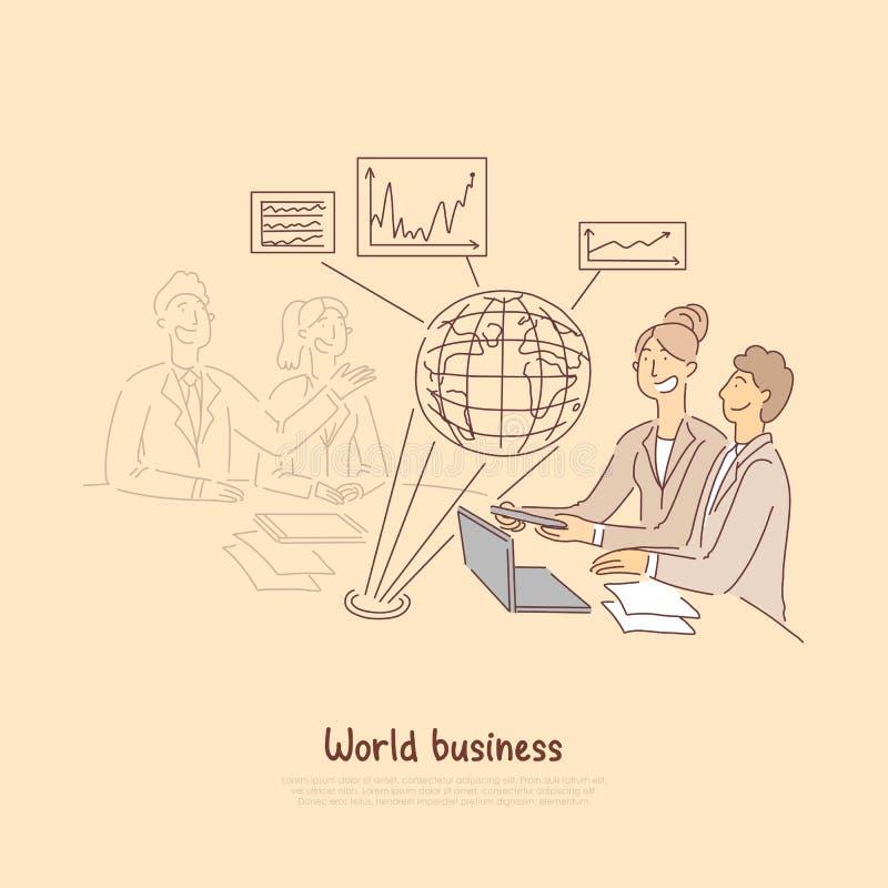 El foro del comercio mundial, los socios extranjeros discute la cooperación, tendencias globales, bandera macroeconómica de las e libre illustration
