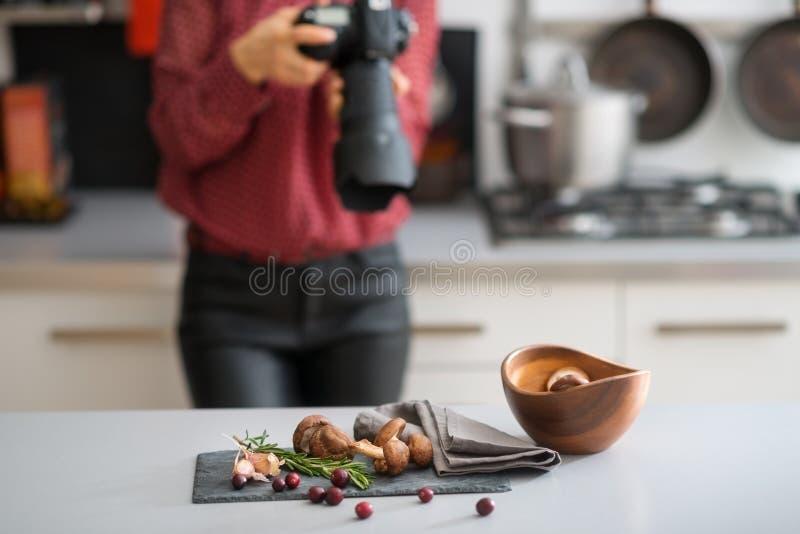 El fotógrafo de la mujer enfoca las frutas y verduras del otoño de la lente foto de archivo