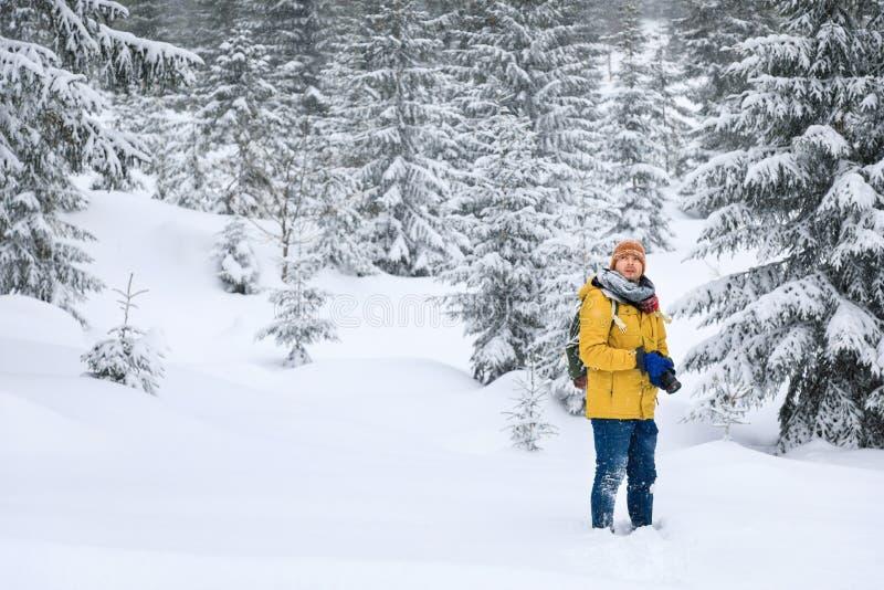 El fotógrafo en bosque del invierno fotos de archivo libres de regalías