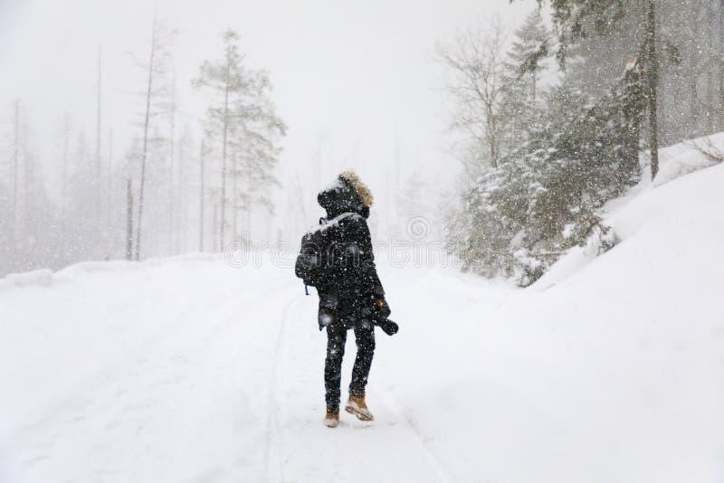 El fotógrafo en el camino del invierno foto de archivo libre de regalías