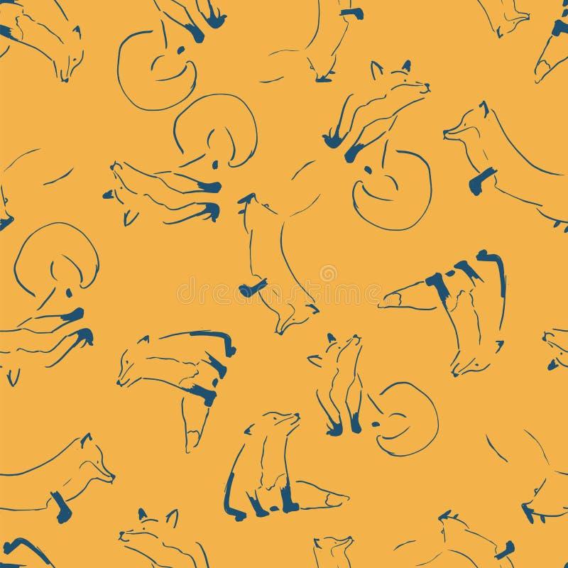 El Fox alinea diseño inconsútil del modelo de la repetición ilustración del vector