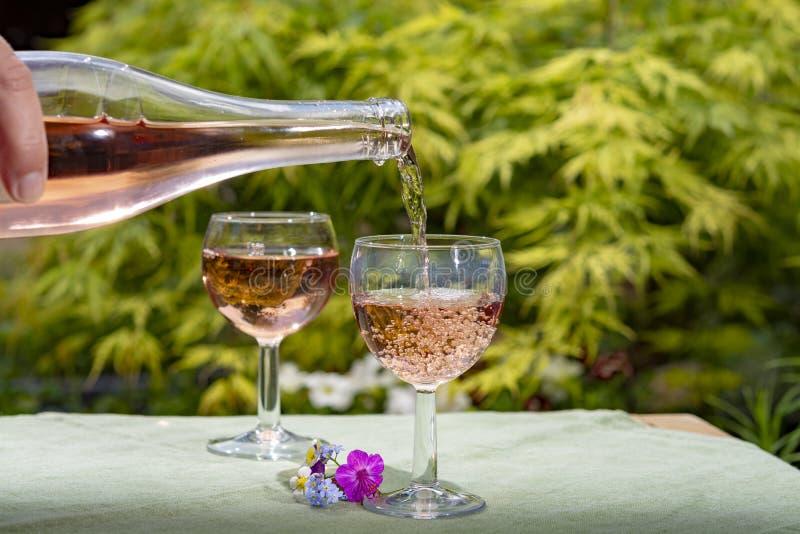 El fr?o de colada del camarero vino rosado en vidrios en d?a soleado del verano en jard?n floreciente fotografía de archivo