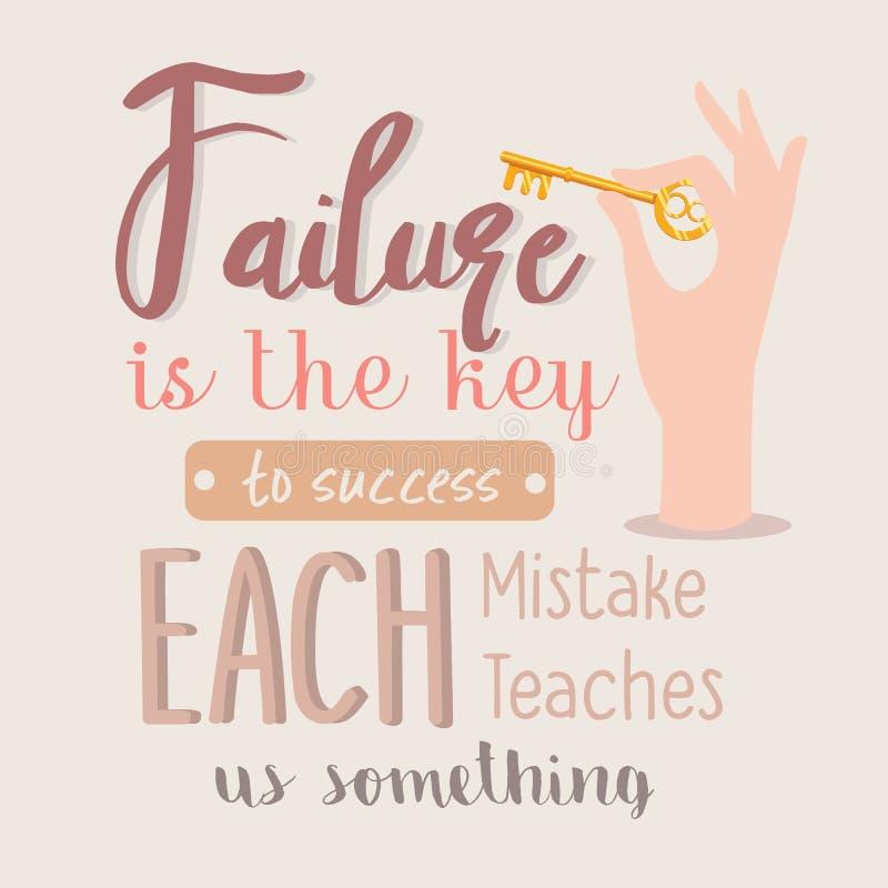 El fracaso es la llave al éxito que cada uno confunde nos enseña algo motivación de las citas ilustración del vector