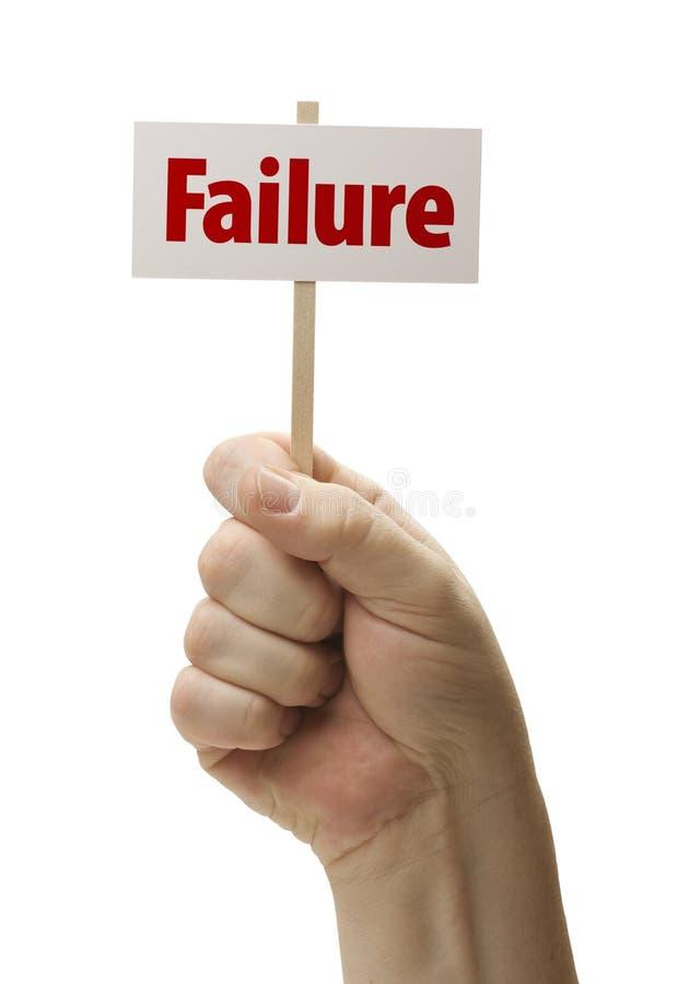 El fracaso firma adentro el puño en blanco foto de archivo