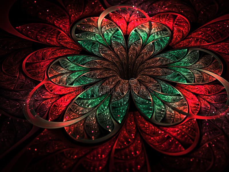 El fractal colorido subió en fondo oscuro stock de ilustración