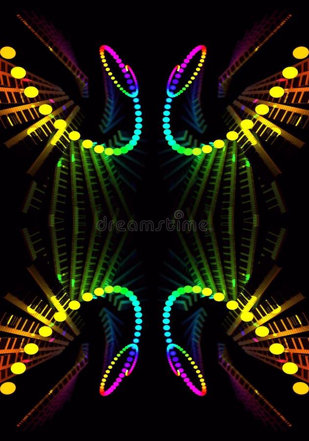 El fractal enérgico multicolor artístico generado por ordenador del extracto 3d forma las ilustraciones ilustración del vector