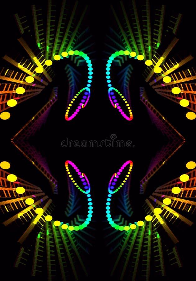 El fractal enérgico multicolor hermoso artístico generado por ordenador del extracto 3d forma las ilustraciones ilustración del vector