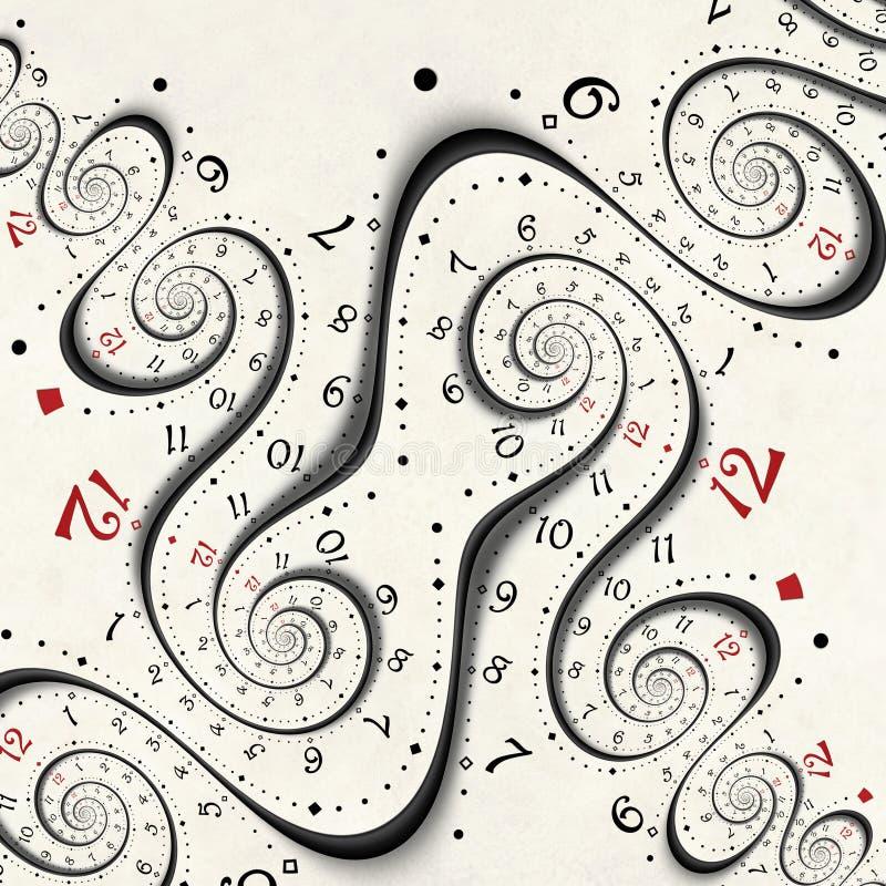 El fractal espiral surrealista blanco moderno abstracto del reloj torció el fondo abstracto inusual de la textura del reloj Reloj stock de ilustración