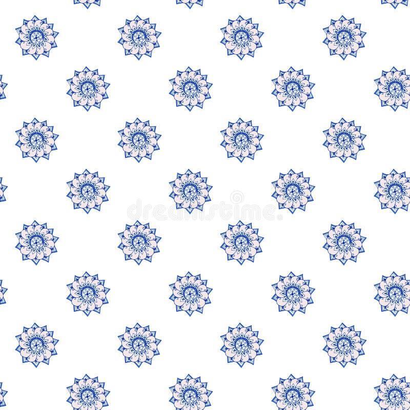 El fractal florece el modelo a mano de flores estilizadas en aciano y colores azules cerúleos Ilustración En el fondo blanco libre illustration