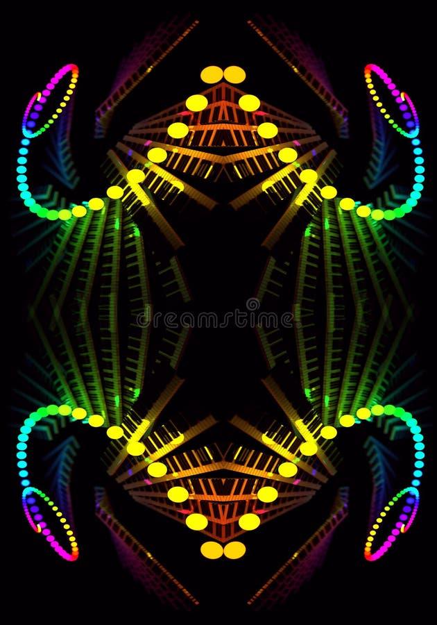 El fractal hermoso enérgico multicolor artístico generado por ordenador del extracto 3d forma las ilustraciones stock de ilustración