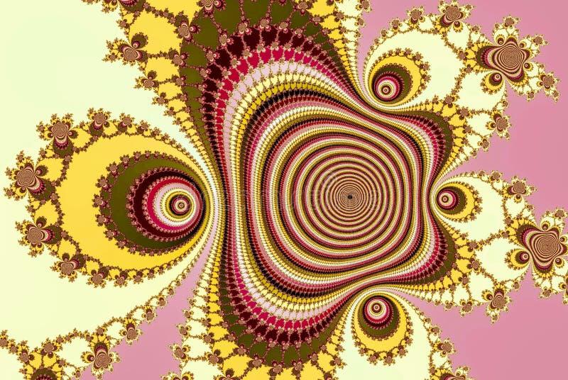 El fractal hizo punto el cartel colorido color de rosa, moderno del flujo Fondo abstracto de la onda 3d rinden stock de ilustración