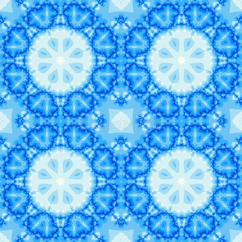 El fractal inconsútil azul basó la teja con un diseño de la mandala libre illustration