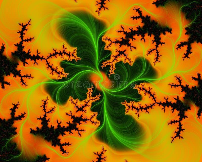 El fractal negro fosforescente amarillo anaranjado verde de la flor forma el bacground y la textura abstractos de la web ilustración del vector