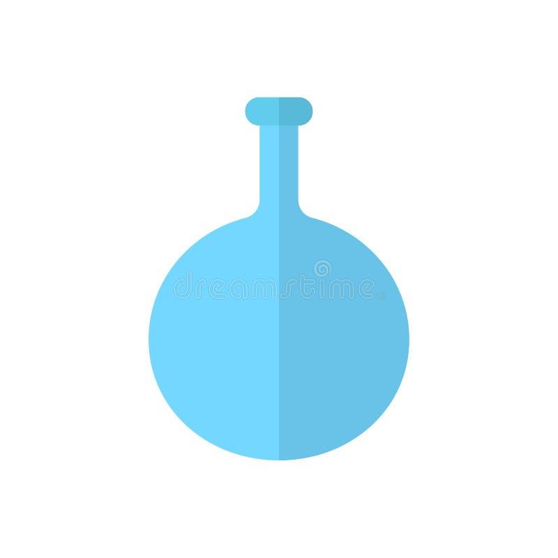 El frasco de parte inferior redonda, icono plano del cubilete, llenó la muestra del vector, pictograma colorido aislado en blanco ilustración del vector