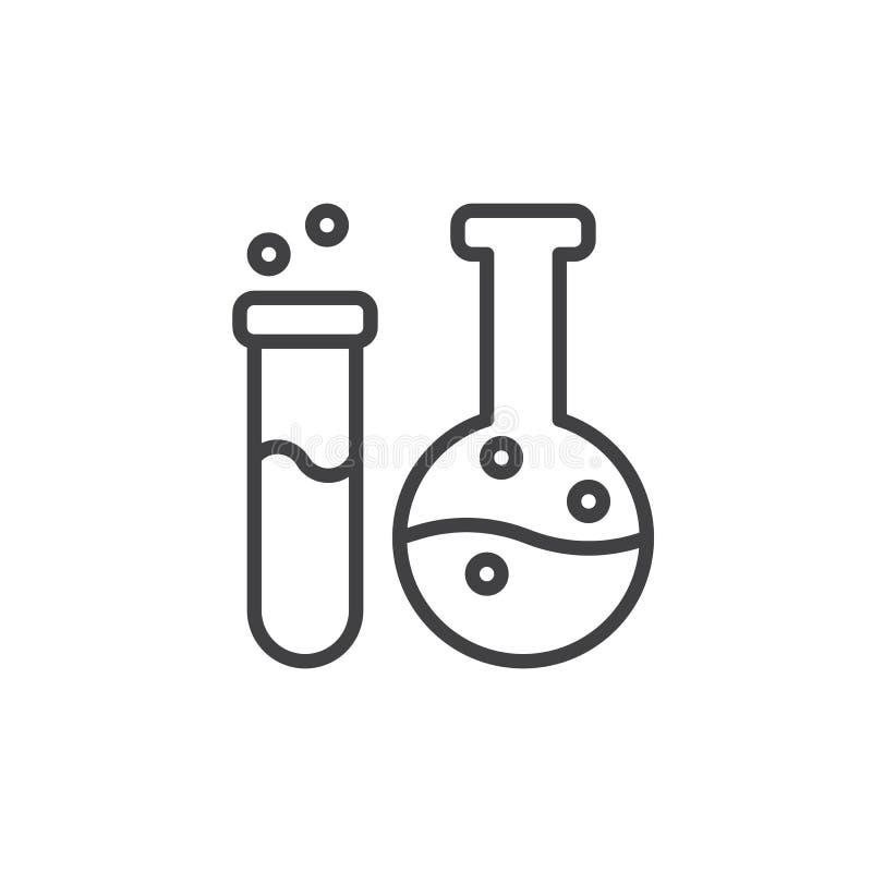 El frasco y el tubo de ensayo alinean el icono, muestra del vector del esquema, pictograma linear del estilo aislado en blanco libre illustration